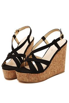 Free Shipping Black Crossed Strap Open Toe Cork Casual Wedges on Luulla