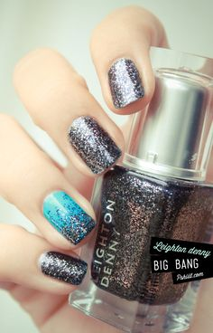 INSPIRATION :: Love this idea of using glitter polish w/ an accent nail using a creme base & glitter gradient! (Leighton Denny Big Bang available @ BeautyBay--a DENSE black, silver & blue glitter polish that's very thirsty!! 3 coats of Seche & still don't get completely smooth but o so gorgeous!) | #pshiiit