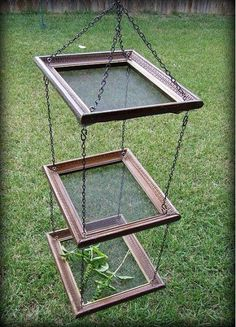 Hanging re-purposed picture frame herb drying rack    The glass has been replaced with metal screens