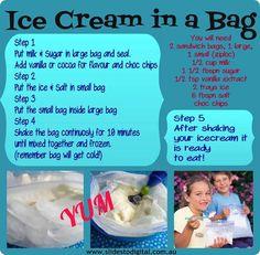 Ice cream in a bag. Yummy science experiment for the kids! Pavlova, Icecream In A Bag, Easy Icecream, Mantecaditos, Diy Ice Cream, Cream Bags, Thinking Day, Summer Treats, Summer Snacks