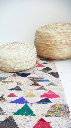 Vintage Moroccan Kilim  BOUCHEROUITE  triangles por lacasadecoto