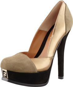 Fendi Brown Fendista Colorblock Pump Graybronze