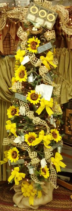 Burlap and Sunflower Tree perfect for Summer or Fall decorataing!