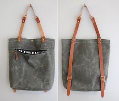Backpack Tote Hybrid Convertible: Green Waxed Canvas and Leather