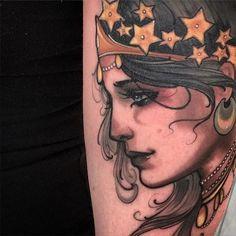 Celestial empress portrait tattoo by Matt Tischler.