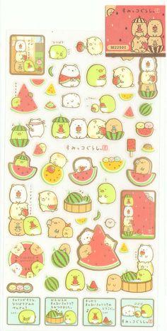 Kawaii Japan Sticker Sheet Assort: Sumikko Gurashi Character Summer 2