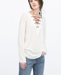 LINEN T-SHIRT WITH STRAPPY NECKLINE