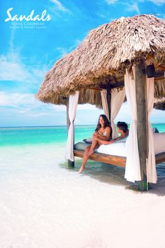 Have a relaxing time on your cabana. #SandalsRoyalCaribbean