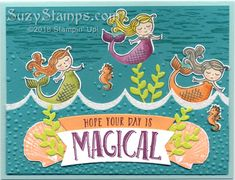 Stampin' Up! Cards - 2018-02 Class - Magical Day, Hide Tide and So Many Shells stamp sets, Magical Mates Framelits  & Seasonal Layers Thinlits Dies and Stampin' Blends Alcohol Markers