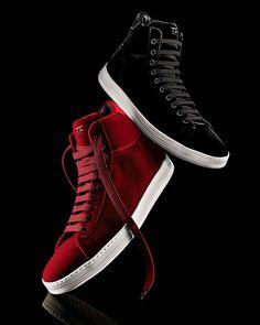 Tom Ford Russel Velvet High-Top Sneaker, Black or Red at Neiman Marcus