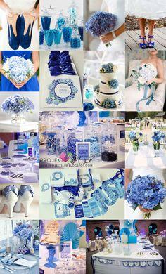 projekt ŚLUB - zaproszenia ślubne, oryginalne, nietypowe dekoracje i dodatki na wesele: Eleganckie i romantyczne zaproszenia ślubne 'Niebieska Hortensja' z motywem kwiatowym w niebiesko granatowej kolorystyce