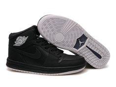 F4T6J078 authentique Nike Air Jordan 1 Retro noir pur Chaussures Hommes, nike air jordan retro 1 pas cher