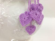 Heart Motifs, Tiny Crocheted Hearts, 7 Mini Hearts, Wedding Decor, Romance, Love, Lavender. $5.00, via Etsy.