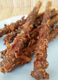 Chocolate bacon dipped pretzels