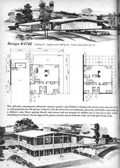 D 1742 Vintage House Plans, Mid Century Homes Modern Architecture Design, Vintage Architecture, Architecture Plan, School Architecture, Modern Floor Plans, Modern House Plans, Best House Plans, House Floor Plans, Vintage House Plans