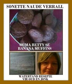 UIT OUMA SE KOMBUIS South African Recipes, Blueberry, Muffins, Banana, Fruit, Desserts, Food, Tailgate Desserts, Berry