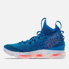 839703c4cc4a Left view of Men s Nike LeBron 15 Basketball Shoes in Photo Blue Total  Orange