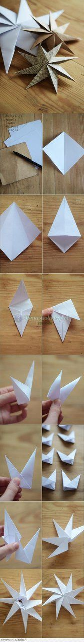 Considering my love of origami this is a must DIY : Paper Star Ornaments Holiday Crafts, Fun Crafts, Diy And Crafts, Crafts For Kids, Arts And Crafts, Spring Crafts, Origami Paper, Diy Paper, Paper Crafting