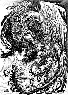 Archdemon of Oblivion - his name given by mother is Glutek. In faraway past was evil and mad creature, who want to destroy universe, but now he... forgot that (no without reason his domain is oblivion, this buddy have really short memory). Like cookies, don't like humans. Eat, that mean. A4/black ink and pen