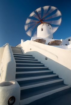 Windmill on Santorini island , Greece Albania, Beautiful World, Beautiful Places, Beautiful Castles, Places To Travel, Places To Go, Oia Santorini, Greek Isles, Stairway To Heaven