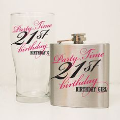 21st Birthday Flask Gift Set 21st Birthday Glass Girls by LEVinyl, $26.00