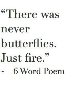 """There was never butterflies. Just fire."""