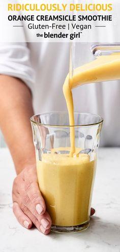 Unglaublicher Orange Creamsicle Smoothie {Vegan + GF} - The Blender Girl - Smoothies - Vegan Smoothie Bowl Vegan, Smoothies Vegan, Smoothies Detox, Smoothie Fruit, Best Smoothie Recipes, Raspberry Smoothie, Breakfast Smoothies, Smoothie Blender, Orange Creamsicle Smoothie Recipe