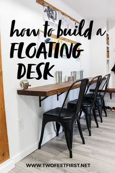 Create this beautiful built-in floating desk. This tutorial will show you step by step what is needed to build this DIY desk that will spruce up any room while on a budget. #twofeetfirst. Floating Wall Desk, Floating Table, Wall Mounted Table, Build A Wall, Kid Desk, Kitchen Nook, Diy Table, Lego Table, Diy Wood Projects
