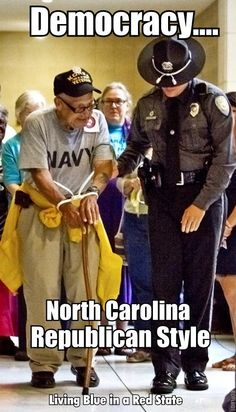 Nothing says freedom like arresting a veteran who is standing up for voting rights.