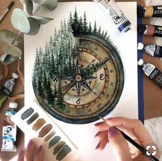 The fourth compass image is for . # Watercolor Painting The Fourth Compass Painting - Zeichnen - Painting Inspiration, Art Inspo, Design Inspiration, Watercolor Flowers, Watercolor Paintings, Painting Art, Tattoo Watercolor, Gouache Painting, Painting Quotes