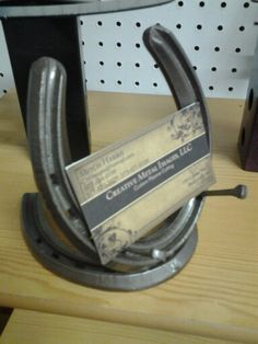 Horse shoe business card holder