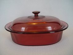 Pyrex Corning VISIONS Cranberry Roaster Dutch Oven by GandTVintage, $28.00