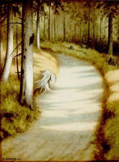 Hakkespett (Woodpecker) by Theodore Kittelsen Nature Paintings, Animal Paintings, Landscape Paintings, Oil Paintings, Most Popular Artists, Great Artists, Theodore Kittelsen, Art Database, Christmas Art