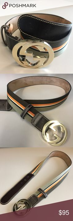 "Gucci Web Belt The interlocking G buckle belt with Gucci Web Strap in tan and brown. Brown leather trim Gold toned hardware interlocking G. 1.5"" width. Size: 85/34. Made in Italy. Authentic. Excellent condition. Gucci Accessories Belts"