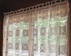 Vintage White Crocheted Curtain, Handmade Vintage Curtain,