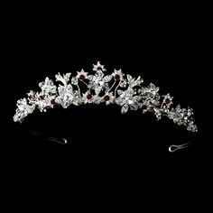 Stunning Red and Clear Crystal Wedding and Quinceanera Tiara - Affordable Elegance Bridal -