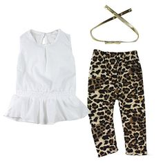 Sunward NEW Baby Girl 3pcs Suits White T-shirt   Leopard Pants   Belt Set Outfit (6) ** Check out this great image @