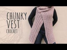 Knitting Patterns Chunky Tutorial Easy Vest with Chunky Yarn Chunky Crochet, Tunisian Crochet, Chunky Yarn, Diy Crochet, Crochet Cardigan, Crochet Shawl, Crochet Stitches, Chunky Knitting Patterns, Crochet Patterns