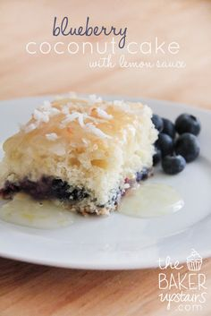 Blueberry coconut cake with warm lemon sauce from The Baker Upstairs. So delicious! www.thebakerupstairs.com