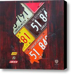 Illinois License Plate Map Stretched Canvas Print / Canvas Art By Design Turnpike.