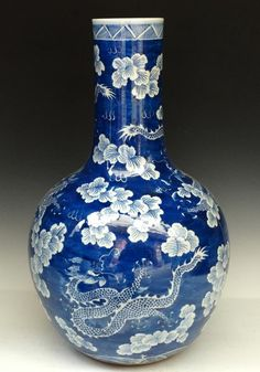 A Large Chinese Blue and White Porcelain Vase Qing Dynasty, Size: H 57cm