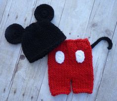 Knit Little Mouse Beanie And Shorties Set by CricketCreations, $45.00