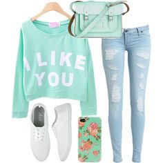 Teen fashion cute green mint green sweater vans Iphone case