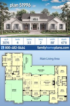 A NEW modern farmhouse house plan with 3076 square feet. A gorgeous home plan has a 2 car garage. Main living area features: large open floor plan in great room and formal…More Family House Plans, New House Plans, Dream House Plans, Modern House Plans, House Floor Plans, Dream Houses, Nice Houses, Modern Farmhouse Plans, Farmhouse Style