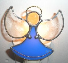 Blue Angel stained glass night light