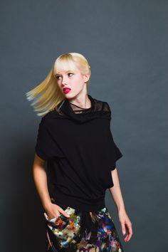 Fledermausärmelshirts - KIRA - Shirt - transparenter Kragen - XS-L - ein Designerstück von taf bei DaWanda