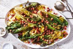 Grilled Romaine With Hot Dog Crispies & Pickle-Mustard Vinaigrette  Recipe on Food52, a recipe on Food52 Kielbasa, Vegetable Dishes, Vegetable Pizza, Hot Dog Buns, Hot Dogs, Mustard Vinaigrette Recipe, Hot Dog Recipes, Yummy Recipes, Grilled Romaine