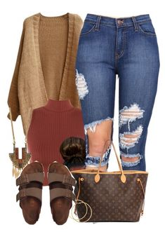 """Untitled #519"" by b-elkstone ❤ liked on Polyvore featuring WearAll, Louis Vuitton, Forever 21, H&M and Birkenstock"