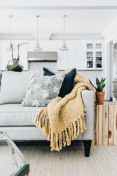 Textured cushions and blankets. Cozy living room decor ideas for a modern family home with beautiful white and grey colors, wood, rustic living room inspiration, modern farmhouse, living room…More Living Room Decor Cozy, Living Room Grey, Living Room Sets, Living Room Chairs, Apartment Living, Home And Living, Living Room Furniture, Living Room Designs, Furniture Plans