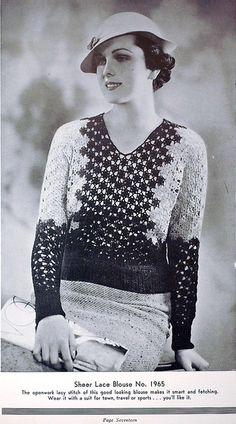 1930s vintage crochet lacy blouse